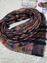 Зимний двухсторонний шерстяной платок в цветок и клетку без бахромы 140х140 см (цв.8)