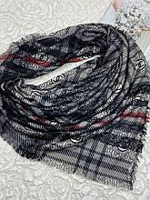 Зимний двухсторонний шерстяной платочек в клетку без бахромы 140х140 см (цв.9)