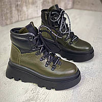 Жіночі зимові шкіряні черевики на шнурівці 36-40 р хакі