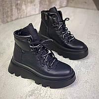 Жіночі зимові шкіряні черевики на шнурівці 40 р чорний