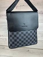 Мужская сумка через плече Луи Витон нагрудная мессенджер барсетка черно серая