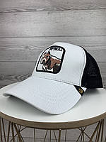 Стильная молодежная кепка бело черная с Pitbull бейсболка с сеткой тракер