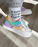 Кроссовки Nike Air Force 1 White Violet Shadow Кожаные кроссовки Найк Белые Фиолетовые Размеры 36-39