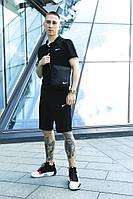 Мужской спортивный костюм Nike Сумка Nike в подарок трикотажные футболка + шорты Nike Черного цвета