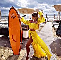 Желтый женский пляжный костюм топ и юбка с разрезами яркий женский пляжный костюм Размер универсальный S M L