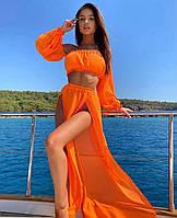 Оранжевы женский пляжный костюм топ и юбка с разрезами яркий женский пляжный костюм Размер универсальный S M L