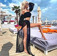 Черный женский пляжный костюм топ и юбка с разрезами яркий женский пляжный костюм Размер универсальный S M L