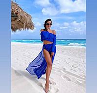 Синий женский пляжный костюм топ и юбка с разрезами яркий женский пляжный костюм Размер универсальный S M L