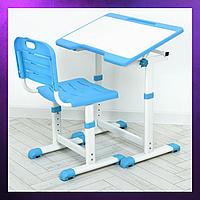 Детская парта со стульчиком стул и стол регулируемая высота складная детская парта - стол и стул синего цвета