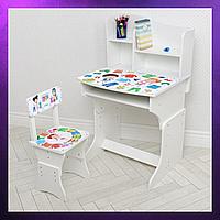 Детская парта со стульчиком стул и стол регулируемая высота Деревянная детская парта-стол и стул Белого цвета