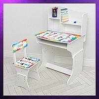 Детская парта со стульчиком и столом регулируемая высота Деревянная детская парта-стол и стул Белого цвета