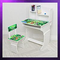 Детская парта со стульчиком и столом регулируемая высота Деревянная детская парта-стол и стул ЛЕС