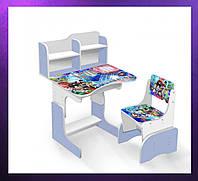 Детская парта со стульчиком и столом регулируемая высота Деревянная детская парта-стол и стул сиреневый