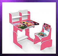 Детская парта со стульчиком и столом регулируемая высота Деревянная детская парта-стол и стул Малиновый