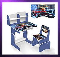 Детская парта со стульчиком и столом регулируемая высота детская парта-стол Тачки и стул голубой