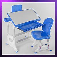 Детская парта со стульчиком и столом регулируемая высота детская парта-стол и стул Синего цвета