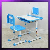 Детская парта со стульчиком и столом регулируемая высота детская парта-стол и стул Бело-Голубой цвета