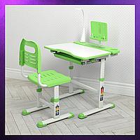 Детская парта со стульчиком и столом регулируемая высота детская парта-стол и стул Бело-Зеленый цвета