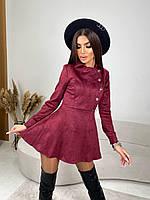 Сукня міні жіноче красиве із замші з пишною спідницею різні кольори Smv6563