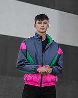 Стильная мужская куртка ветровка Nadvizh green-purple Мужская ветровка весна - осень модная мужская куртка