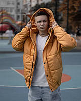 Стильная мужская зимняя куртка Over base цвет горчица мужская молодежная зимняя курточка