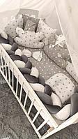 """Комплект Дитячої Постільної Білизни Захист - бортики в ліжечко """"Косичка"""" 7 предметів (5 КОЛЬОРІВ)"""