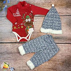 Боді, штанці і шапочка для малюка Розміри: 62,68,74 см (02661)