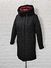 """Жіноча довга зимова куртка-рюкзак """"Селен"""", чорна"""