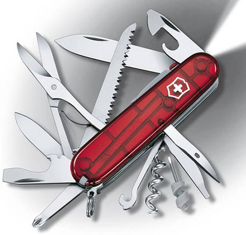 Швейцарский уникальный складной нож Victorinox Huntsman 17915.T красный