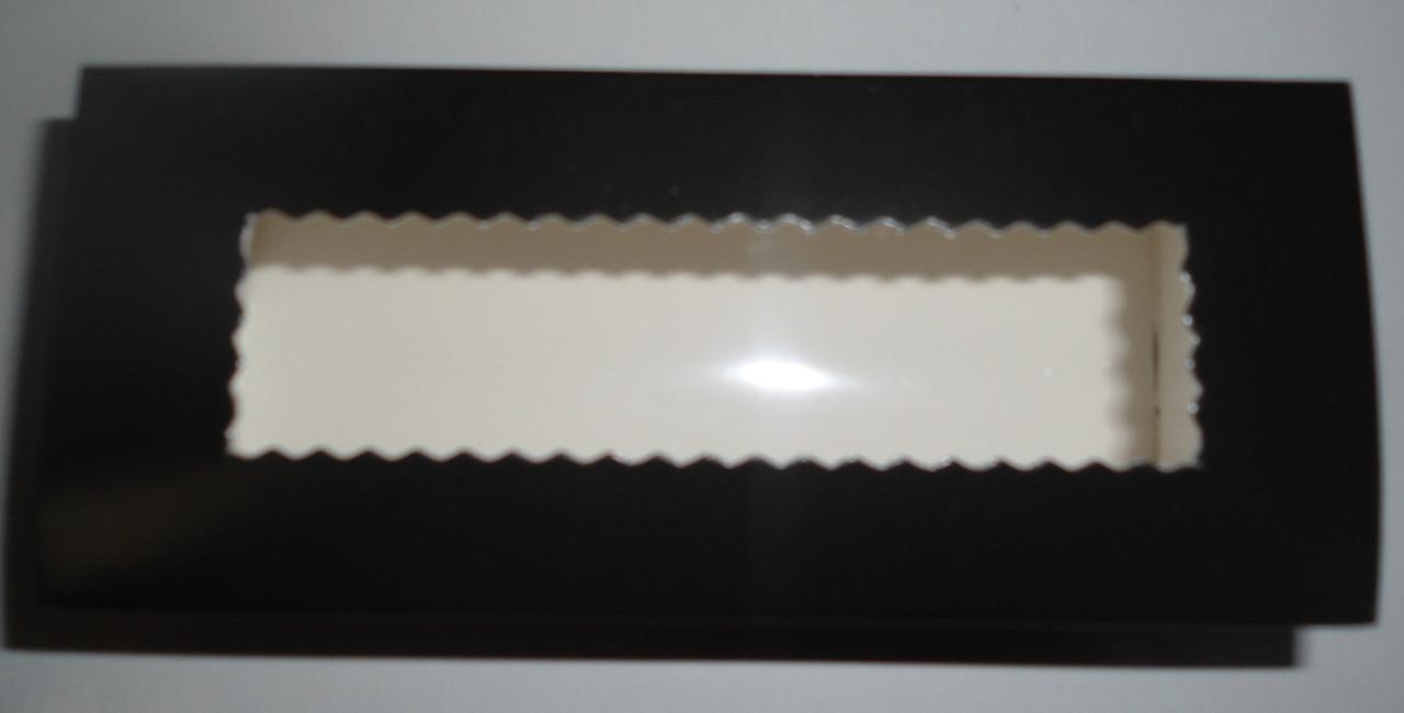 Коробка для Macaron  с окошком черная (код 04669)