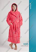 Длинный женский махровый халат на запах (L, XL, 2XL)
