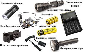 Фонари ручные,налобные,переносные аккумуляторные