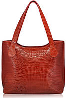 Женская кожаная сумка классическая Crocodile ярко красная