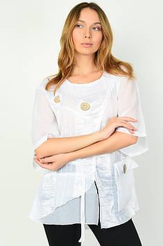 Блуза жіноча батальна біла Уцінка Oumeiting 135273T