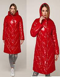 Удлиненные зимние куртки женские под лак размеры 44-54
