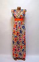 Платье макси Цветы синее/розовое, фото 1