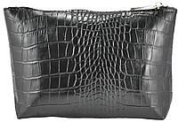 Кожаная косметичка Medi Crocodile черная