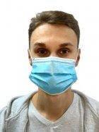 Защитная медицинская маска трехслойная одноразовая с прослойкой мельтблаун (150 шт.)
