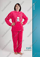 Женская махровая пижама с длинным рукавом, малинового цвета