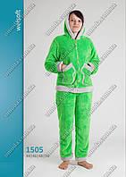Женская махровая пижама  на молнии с длинным рукавом, салатовая