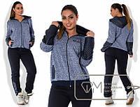 Спортивный костюм женский трикотаж+эко кожа штаны высокая посадка с начесом Размеры: 50, 52, 54, 56