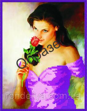 Схема для вышивки бисером «Девушка с цветком»