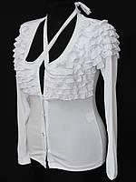 Белая женская кофта с рюшами оптом