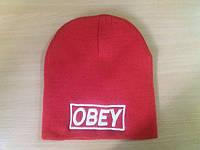 Шапка Obey красного цвета с вышивкой