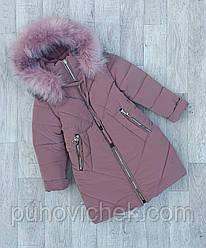Детское зимнее пальто для девочки с красивым мехом размеры 116-152