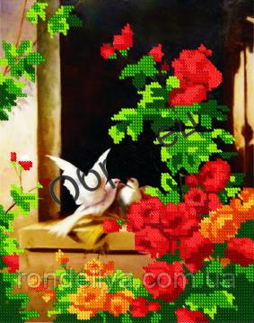 Схема для вышивки бисером «Голуби и Розы»