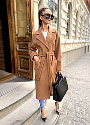 Шикарное длинное зимнее теплое пальто с поясом