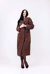 Длинное теплое зимнее пальто из мягкой шерсти