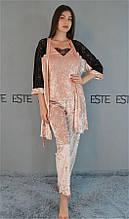Комплект тройка халат майка штаны Este велюровый с  кружевом 313-300-1