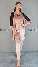 Комплект тройка халат майка штаны Este велюровый с  кружевом 313-300-1 пудра